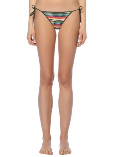 Diane Von Furstenberg Çizgili İpli Bikini Altı Renkli